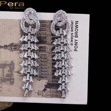 PERA высокое качество серебро Цвет ювелирные Роскошные Длинные падения кубического циркония камень Большой Висячие Серьги для Для женщин партии E033