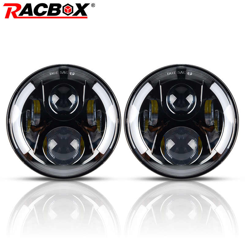 RACBOX 2pcs 80W 7 Inch LED Headlight H4 H13 Hi-Lo with Half Halo DRL Light for Lada 4x4 urban Hummer Jeep Wrangler JK HeadLamp