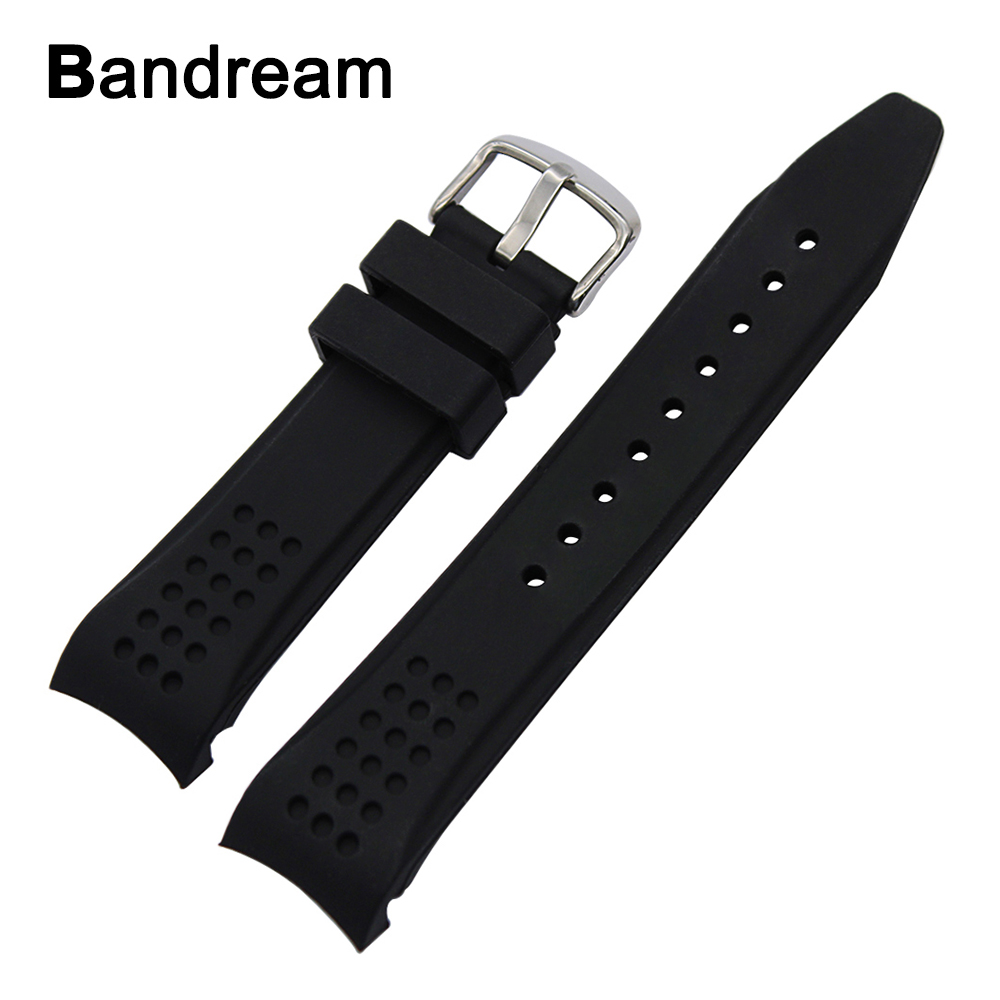 22mm 24mm Rubber Watchband Curved End Strap for Casio Edifice Lineage Oceanus Analogue Watch Band Steel Buckle Wrist Strap Black black silicone rubber watchband curved end for special watches sport style watch strap 22mm for replacement bracelets promotion