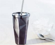 Neue Design 450 ML Tragbare Double Wall Edelstahl Reise Kaffee Becher Teetasse Mit Deckel Stroh