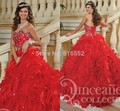 2017 New Sexy Red Vestidos Quinceanera Bola Vestidos de Cristal Frisado Lantejoulas Sweet 16 Vestidos Para 15 Anos Vestidos De 15 Años QA481
