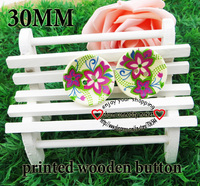 20PCS 30MM plum flower painting wooden buttons sewing clothes boots coat accessories MCB-604