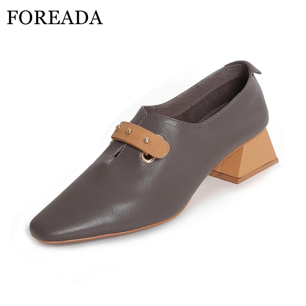 FOREADA Genuine Leather Shoes Spring 2018 Slip On Casual Shoes Pumps Thick High Heels Square Toe Slip Shoes Female zapatos mujer nayiduyun women genuine leather wedge high heel pumps platform creepers round toe slip on casual shoes boots wedge sneakers