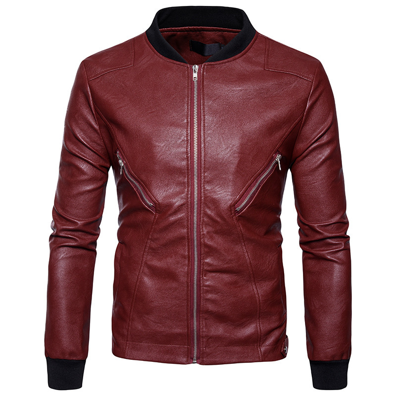 High Quality Creative Autumn Winter Clothing New Winter Fashion Leather Jacket Lapel Pocket Zipper Double Men
