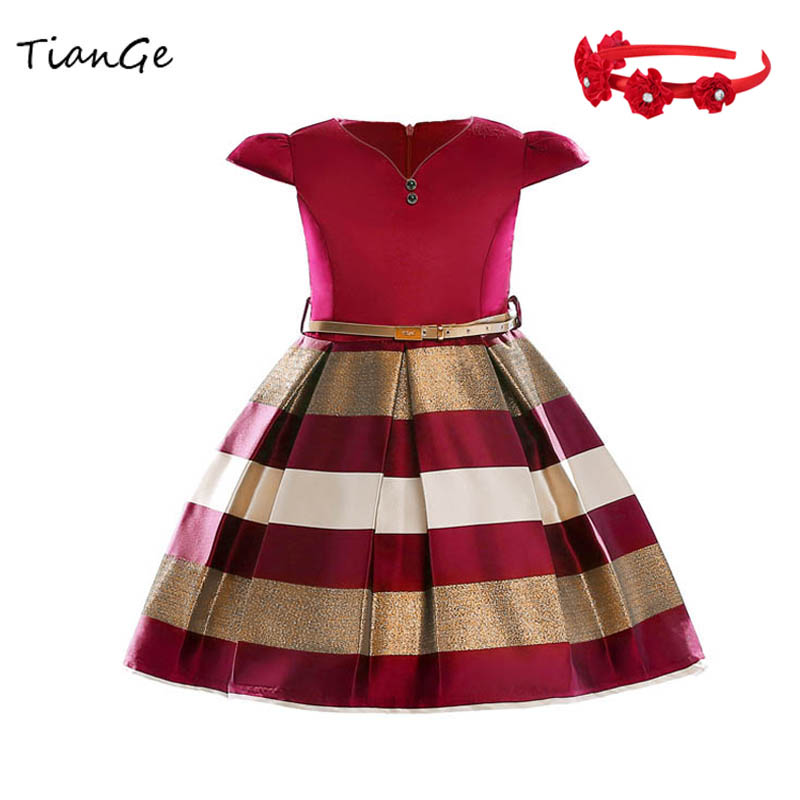Multicolor New Summer Striped Dress For Girls Wedding Dress Fancy princess Dresses kids Clothes Tutu Dresses Headband Vestidos girls dresses trolls poppy cosplay costume dress for girl poppy dress streetwear halloween clothes kids fancy dresses trolls wig