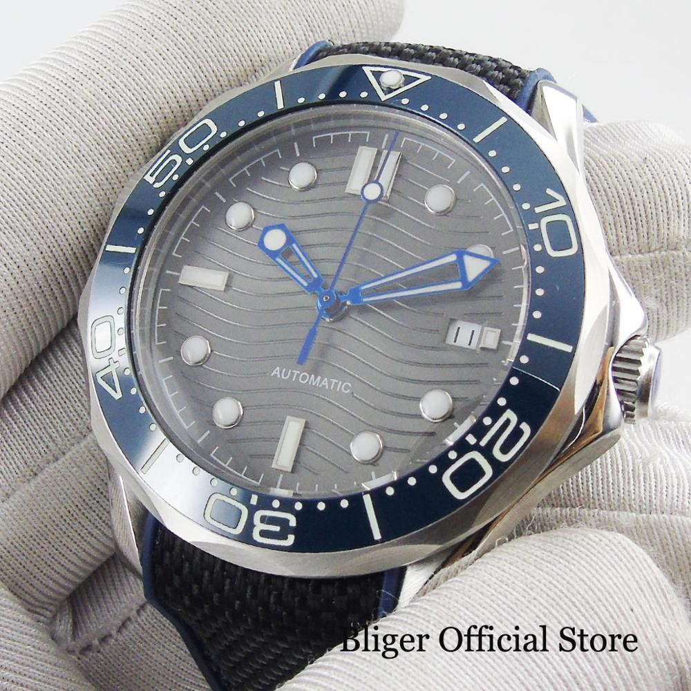 BLIGER Sport Stijl Automatische mannen Horloge Zelfoprollend Beweging Nologo Horloge Gezicht Met Wave Patroon 41mm Tijd Horloge - 4