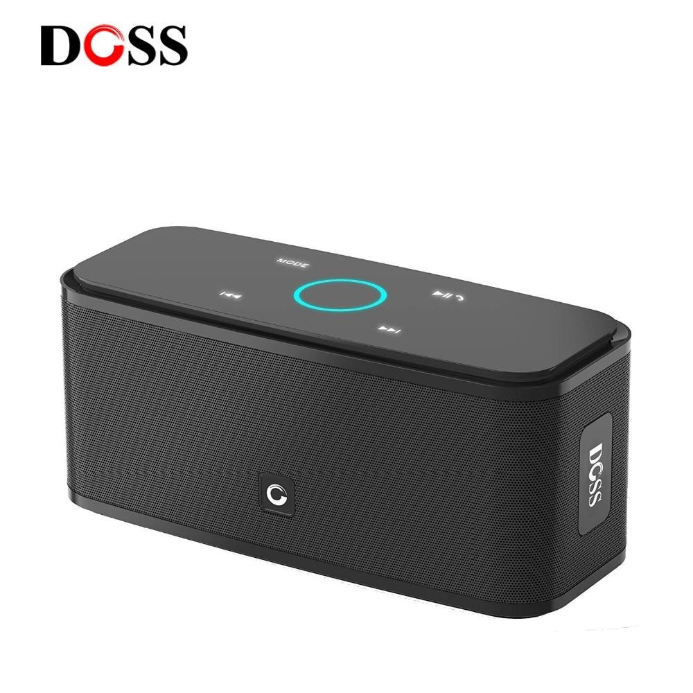 DOSS Caisse de Résonance Tactile Contrôle Bluetooth Haut-Parleur 2*6 w Portable Sans Fil Haut-parleurs Stéréo Sound Box avec Basse et Intégré mic