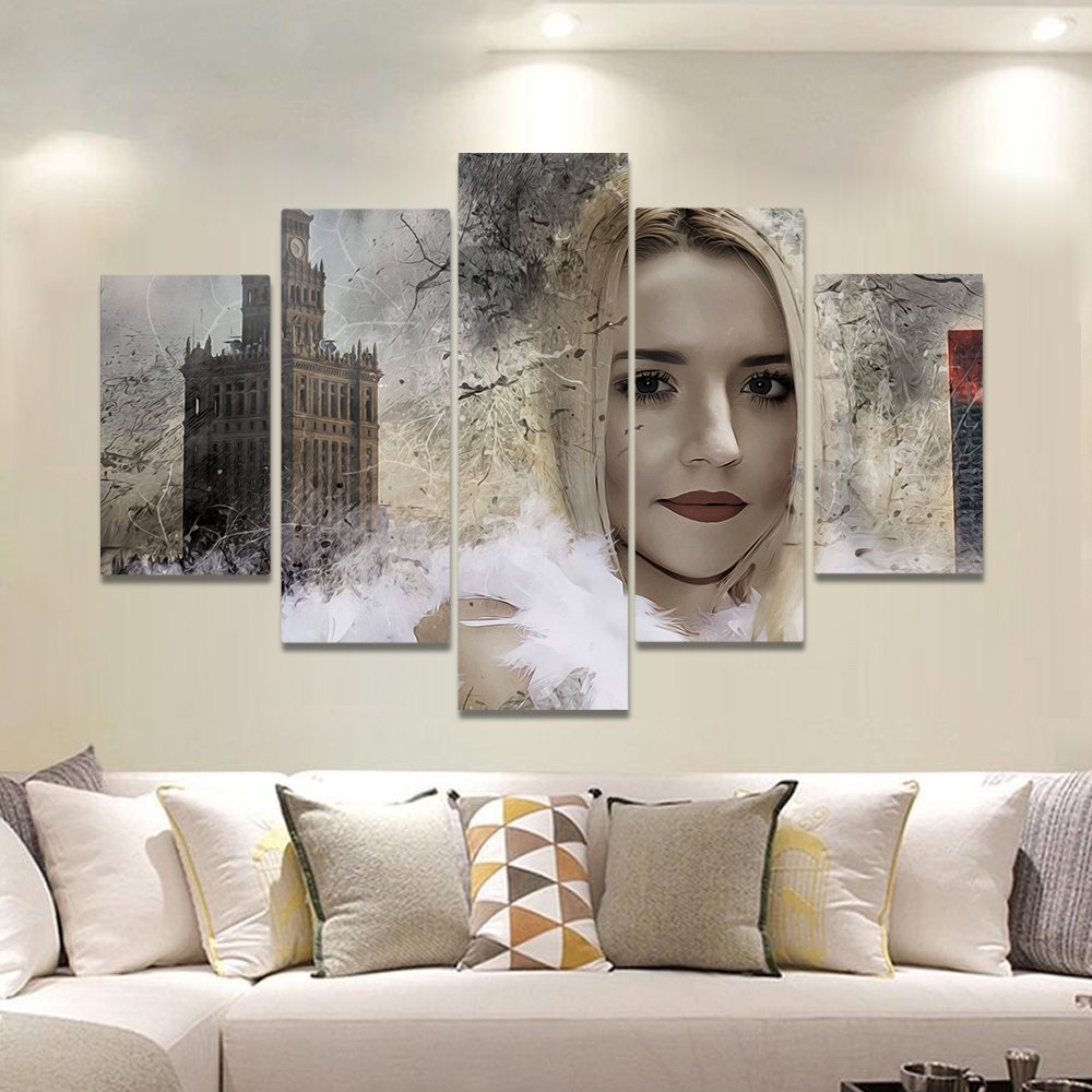 Unframed Canvas Painting Blonde Girl Bell Tower A Broken Picture Prints Wall Picture For Living Room Wall Art Decoration