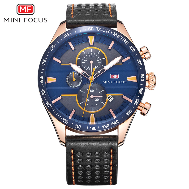 MINI FOCUS Big Dial Mens Watches Top Brand Luxury Quartz Wristwatches Chronograph Sub-dials Clock Men Leather Strap Montre Homme orkina golden watches for men top luxury brand mens quartz wristwatches stainless steel band working sub dials 6 hands watches