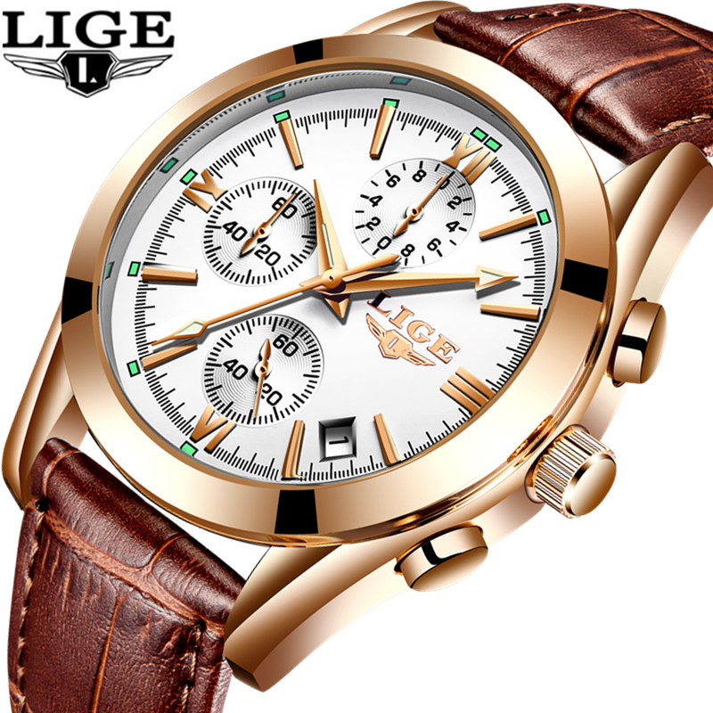 Relogio Masculino LIGE Fashion Watch Men Sport Military Clock Mens Watches Top Brand Luxury Quartz Waterproof Leather Gold Watch army military men sport watch relogio masculino valia brand leather waterproof date day hours quartz clock mens watches
