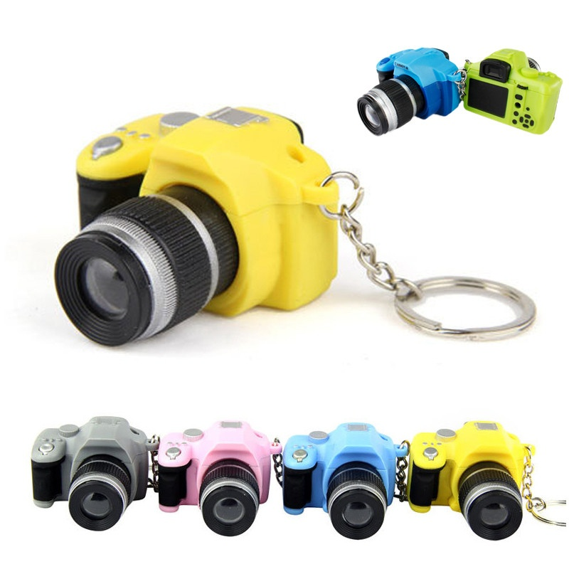 Mini Digital Single Lens Reflex DSLR Camera Style LED Flash Light Keychain For Bag Phone ...