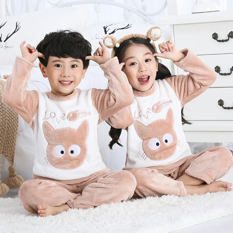 Children's flannel   pajamas     set   boys and girls cartoon coral fleece head protector home service