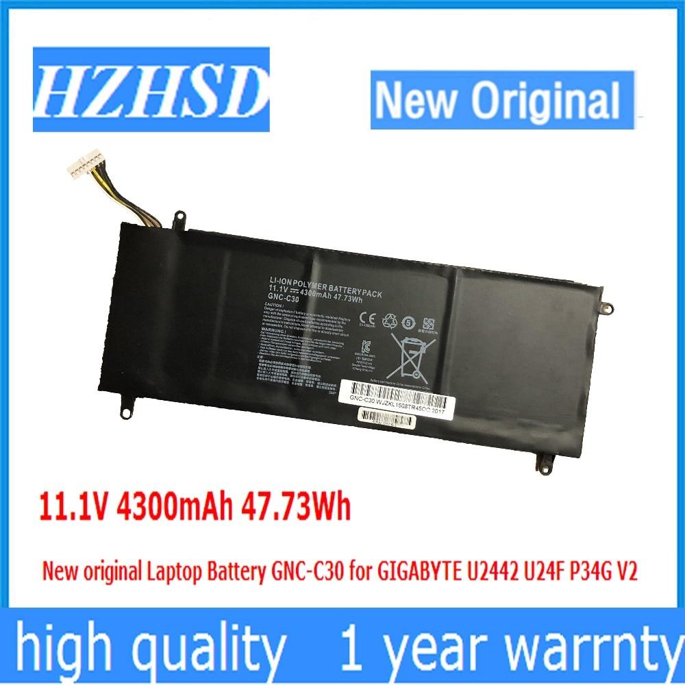 11.1 V 4300 mAh 47.73Wh Nouvelle Batterie D'ordinateur Portable d'origine GNC-C30 pour GIGABYTE U2442 U24F P34G V2