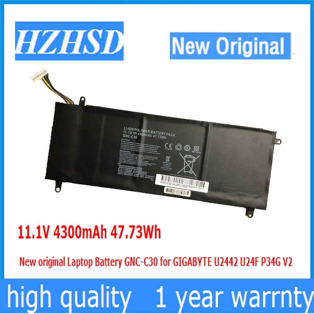 11.1V 4300mAh 47.73Wh New original Laptop Battery GNC-C30 for GIGABYTE U2442 U24F P34G V2