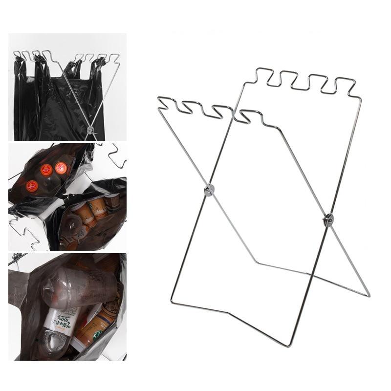 Foldable Home Kitchen Garbage Bag Holder Outdoor Portable Space-saving Storage Rack