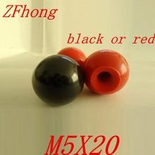 10 шт. M5 x 20 мм черный или красный шар ручка 5 мм Нитки 20 мм мяч Диаметр бакелит черный мяч рычага для Станки