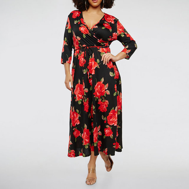 9b9cfde80b9 2018 floral Print 5XL 6XL Plus Size Women Dress Sexy Long floor length Dress  female Large