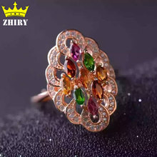 100% Natural Tourmaline ring Multicolored Genuine solid 925 sterling silver gems Fine jewelry Birthstone rings gold plated
