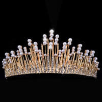 Trendy Silver Pearl Tiara Round Wedding Big Crowns For Bride Hair Accessories Crystal inlaid Queen Crown Wedding Hair Jewelry
