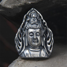 999 Sterling Silver Necklace Pendant 37MM*28MM Antique Color Guanyin Head Pendants Transhipped Buddha Fine Quality