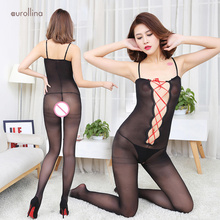 Open Crotch Jumpsuit Erotic Nylon Body Stocking Deep V Front Laceup Red Straps Size Plus Sleeveless Lowcut Temptation Set