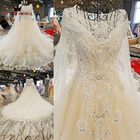 Luxurious Empire Lace Beaded Crystal Wedding Dresses Real Picture Ivory Bridal Wedding Gowns 2018 New Design
