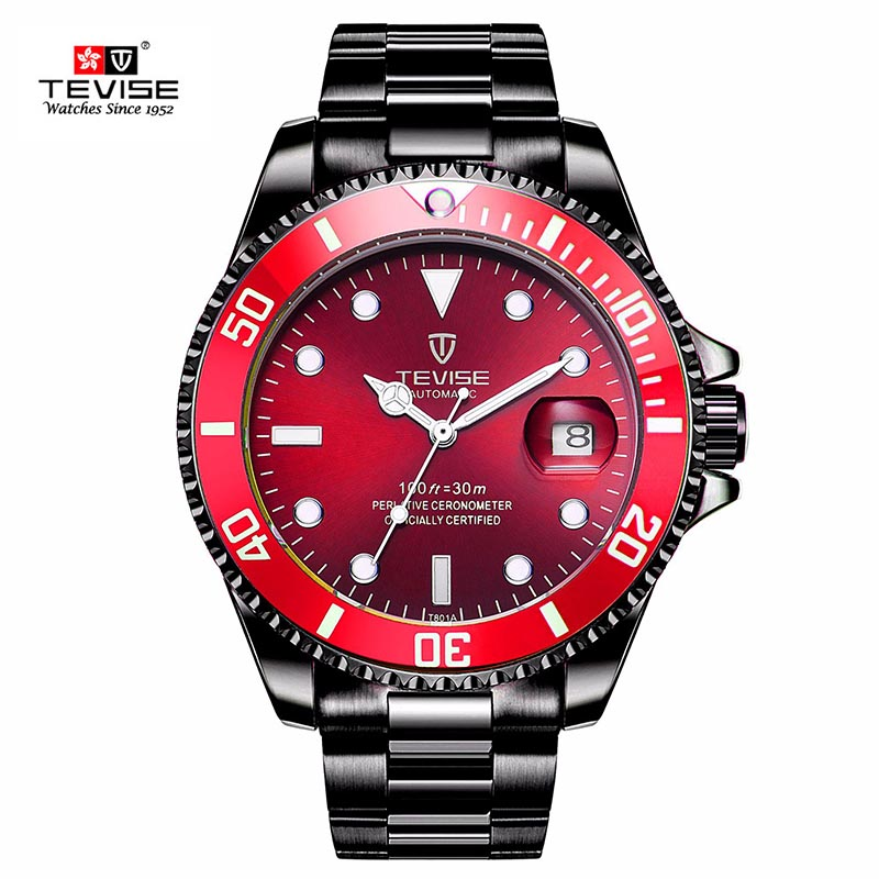 New Tevise Men Mechanical Watch Automatic Date Fashion luxury submariner Clock Male Role Sport Business Clock Relogio Masculino tevise fashion auto date automatic self wind watches stainless steel luxury gold black watch men mechanical t629a with tool