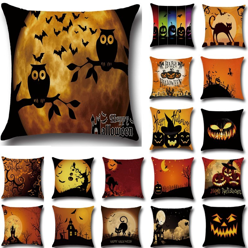 1Pcs Halloween Pumpkin Bat Owl Pattern Cotton Linen Throw Pillow Cushion Cover Seat Home Decoration Sofa Decor Pillowcase 40188