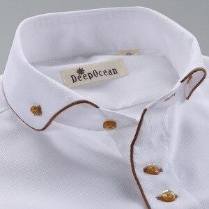 Image 3 - Deepocean Tuxedo Shirt Styles 2019 Camisa Social Masculina 100%  Cotton Brand Shirt White chemise homme French slim Fit Shirts