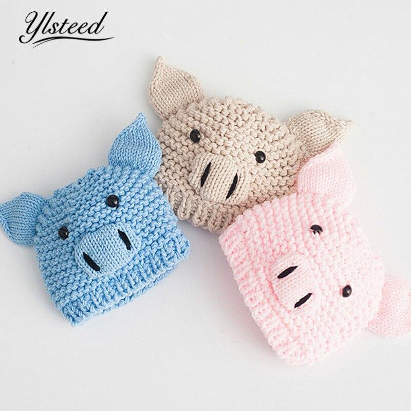 bc01b1624 Ylsteed Crochet Baby Boy Girl Hat Newborn Photo Props Cartoon Pig Style Baby  Cap Infant Fotoshooting