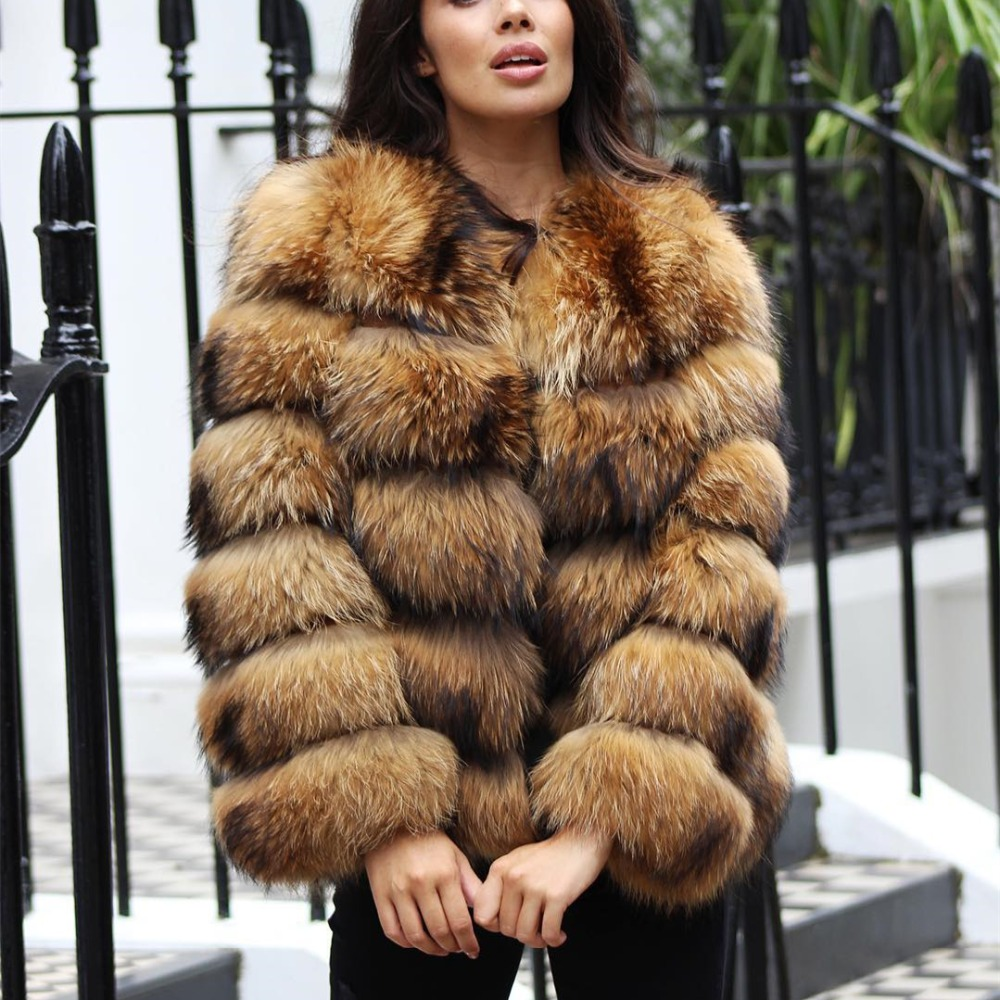 Real Raccoon Fur Jacket Women Winter Coat Fashion Genuine Leather Full Sleeve Strips Full Pelt Natural Raccoon Fur Coat Female