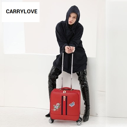 CARRYLOVE High quality Korean fashion luggage 16/20/24 size PU Rolling Luggage Spinner brand Travel Suitcase цена