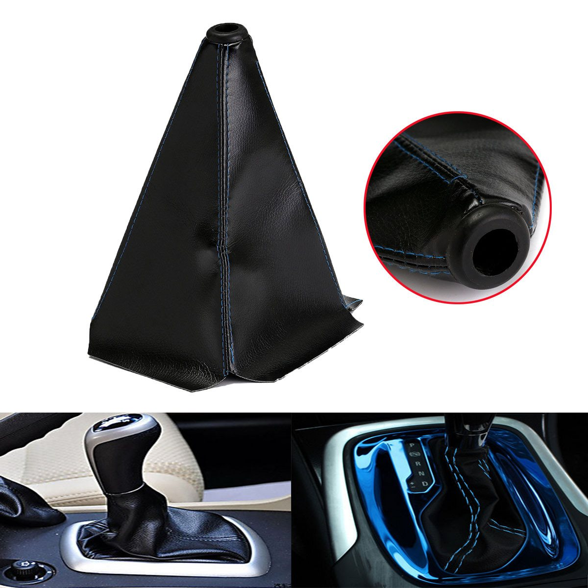Universal Auto Car Gear Shift Boot Cover Blue Stitch Black PVC Leather Manual Shifter Gear Shift Collars