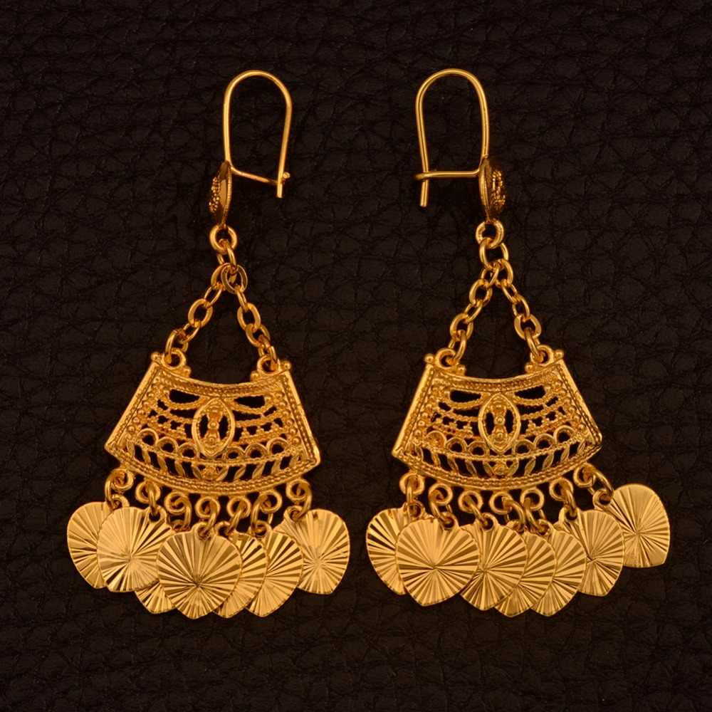 Anniyo Classic Earrings of Gold Color,Dubai Trendy Jewelry Gifts With Heart New Style  #110306