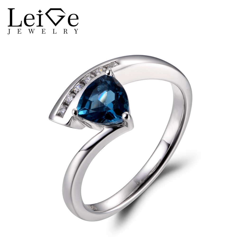 LeiGe Jewelry Topaz Promise Rings Genuine London Blue Topaz Rings November Birthstone Trillion Cut Gems Ring 925 Sterling Silver термокружка gems 470ml blue topaz 1907 77