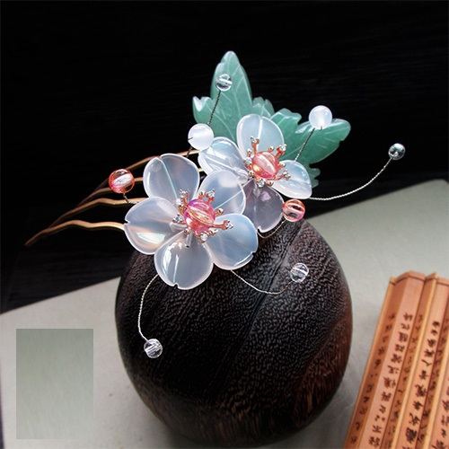 White Agate Petal DongLing Jade Leaf Crystal Beads Hair Comb Costume Hanfu Hair Accessory Hair Comb for Women 5 pcs leaf hair accessory