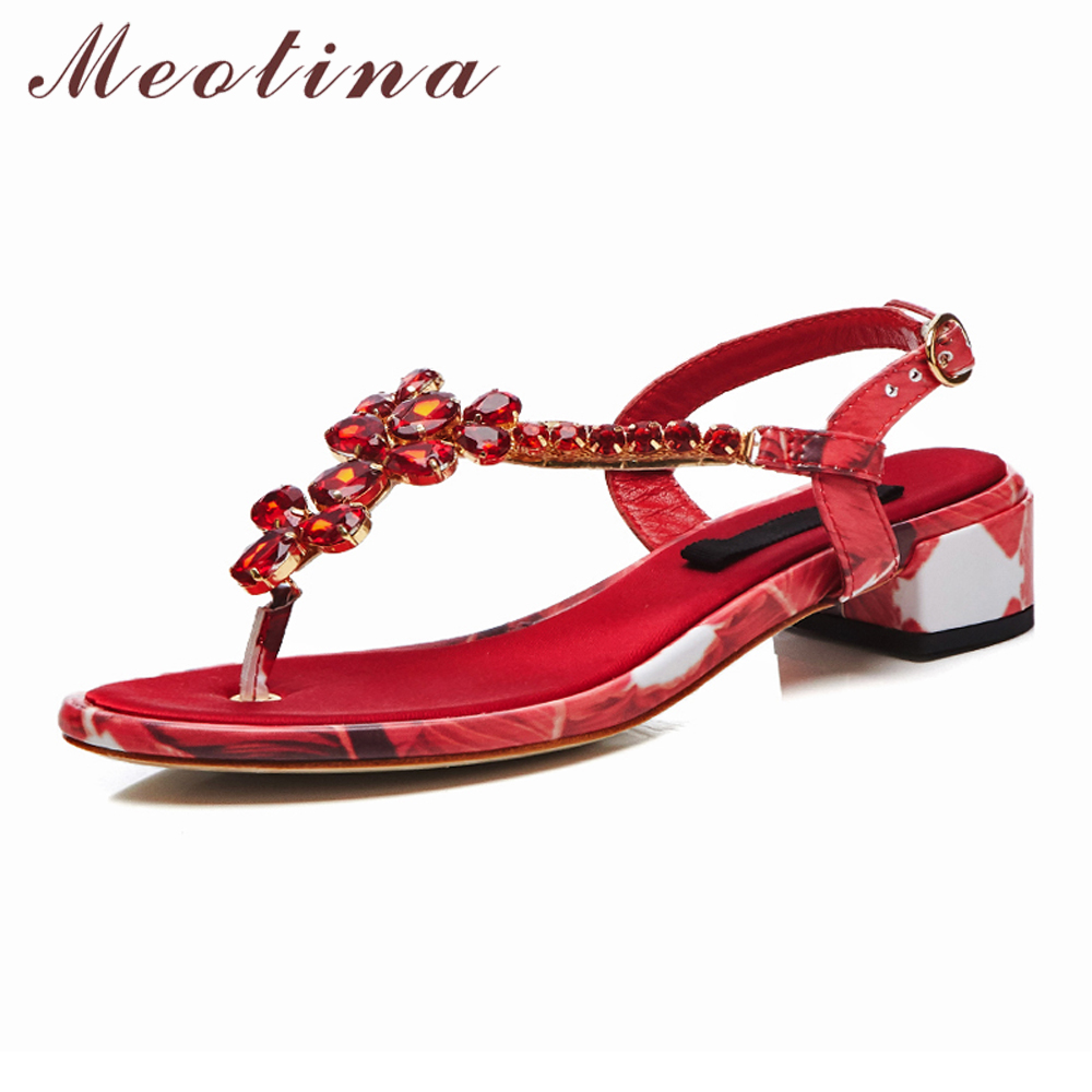 Meotina Women Shoes Summer Sandals Natural Genuine Leather Rhinestone Thick Heels Shoes Flower Buckle Flip Flops Sandals Red 39