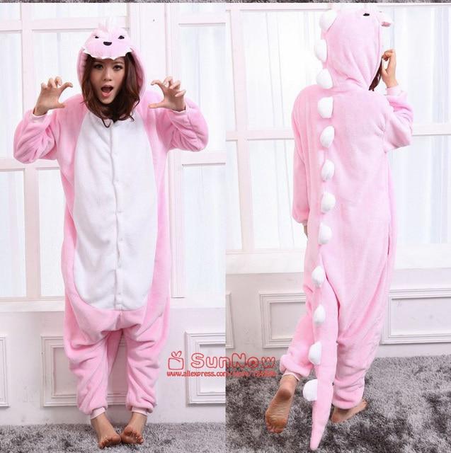 28a54830c4 Adulto unisex flannel Pink dinosaurio onesies pijama jumpsuit Cartoon pijamas  con capucha animal Halloween Cosplay traje