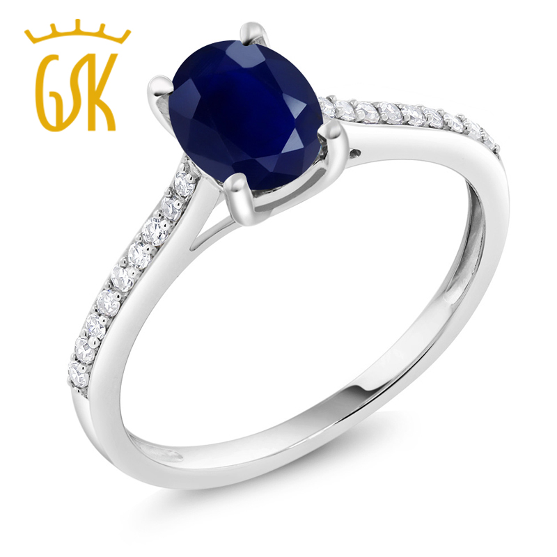 Gem Stone King Women Rings Gemstone Rings 10K White Gold Diamond Accent Engagement Ring Oval Blue Sapphire 1.89 ct