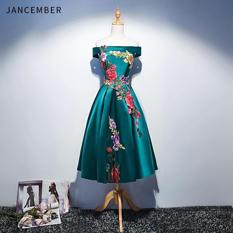 JANCEMBER Elegant Cocktail Dresses Satin Short Red Green Embroidery Lace Up Back Knee-Length Off The Shoulder Vestido Cocktail