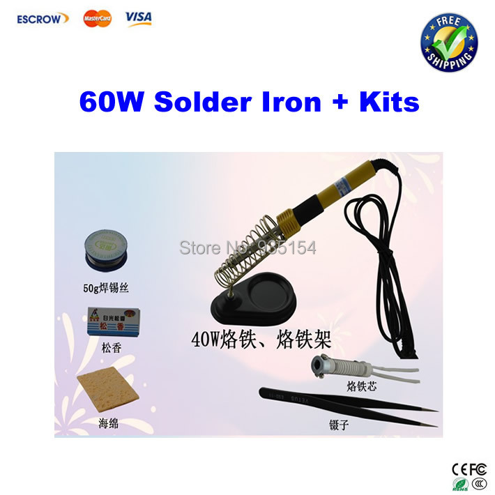 60W electric solder iron, constant temperature soldering iron, household heating tool kits free shipping soldering iron 60w electric soldering iron constant temperature solder iron