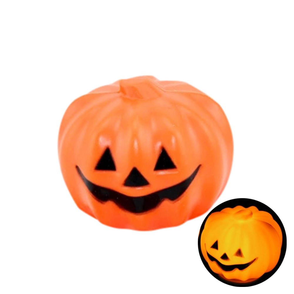 2017 halloween decorative supplies small color glowing pumpkin ghost light f8143 - Plastic Pumpkins