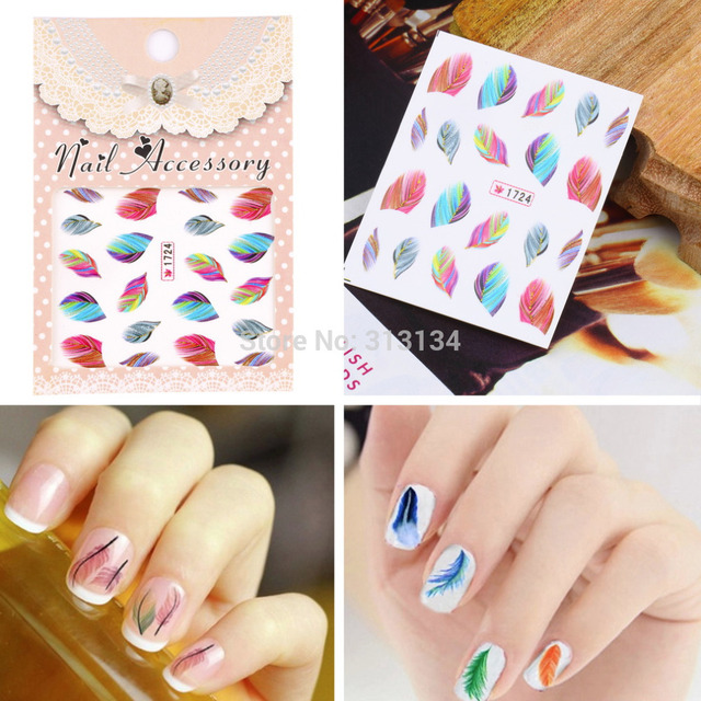 20pcs Colorful Beauty Feather Nail Art Decal Water Transfer Stickers ...