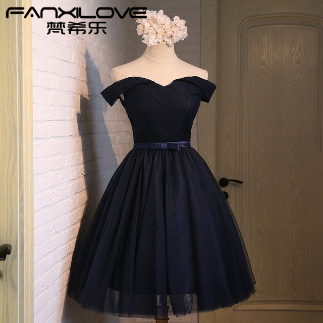 Fanxilove Off shoulder sister group bridesmaid dress sisters short dress  birthday banquet bb8fadc56df4