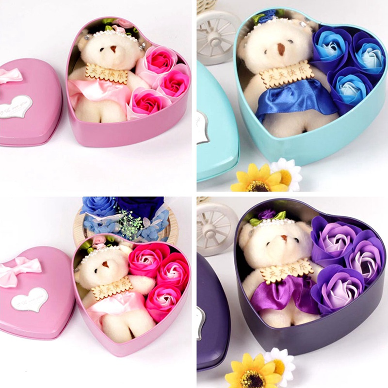 1 Set Rose Soap With Little Bear Bath Rose Soap Flower Petal With Gift Box For Birthday Wedding Valentine's Day Love Gift