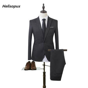 Helisopus Business Men Suit Jacket Pant Wedding Groom