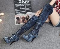 Newest 2017 Women Fashion Special Sexy Denim Shoes High Heels Platform Boots