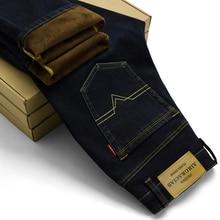 AIRGRACIAS Brand Mens Winter Stretch Thicken Jeans Warm Fleece High Quality Denim Biker Jean Pants Trousers Size 28-42 Hot Sale