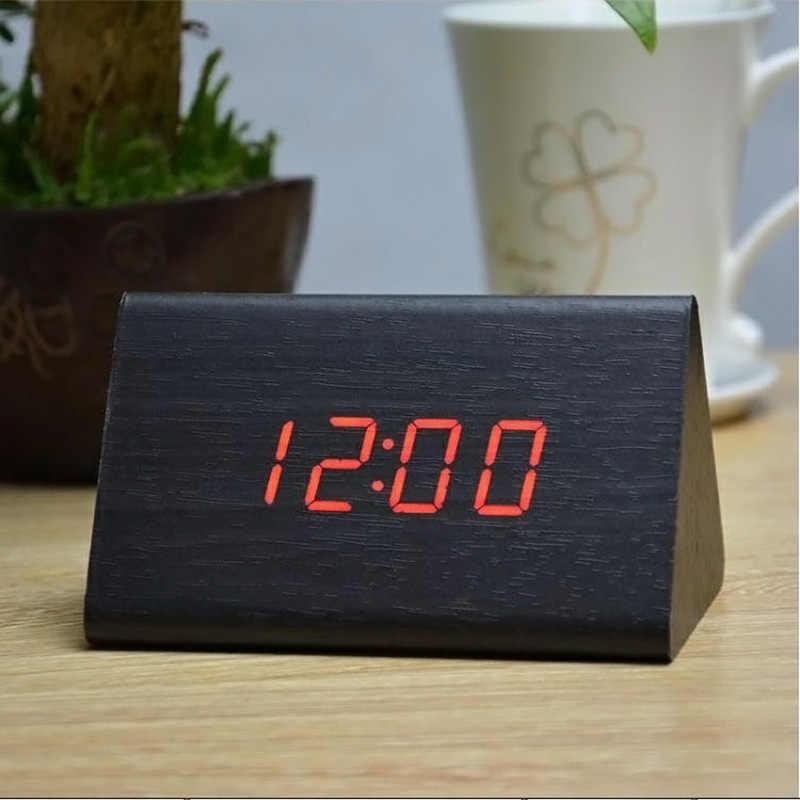 דקורטיבי שולחן שעוני בקרת חישה טמפ מעורר תצוגה כפולה אלקטרוני LED בציר עץ מעורר דיגיטלי שעון LO88