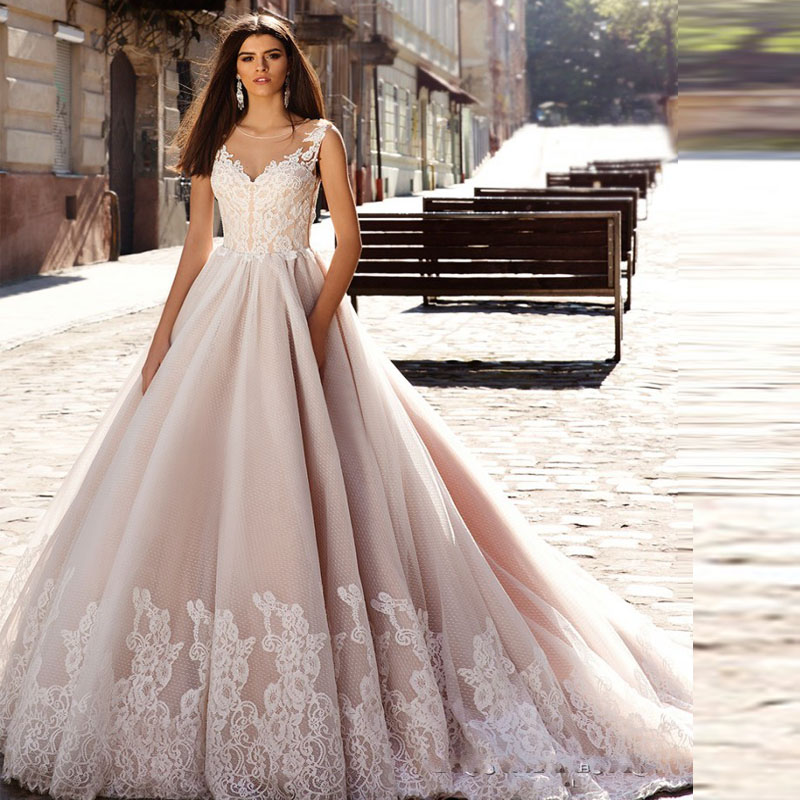 Vestido De Noiva 2017 New Elegant Lace Applique Tulle: Hot Sale New Arrival Lace Wedding Dress Vintage Tulle
